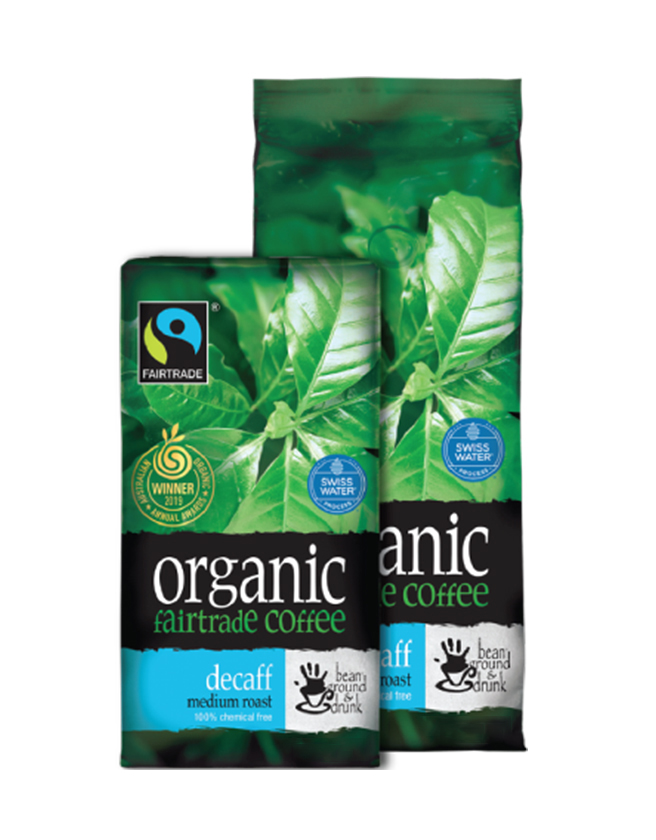 BEAN GROUND & DRUNK - AUSTRALIAN ORGANIC FAIR TRADE COFFEE BEANS (100% ARABICA): DECAFFEINATED MEDIUM ROAST